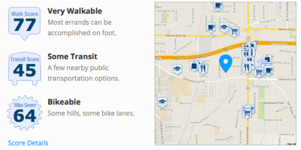 Figure 1. The home's location is considered very walkable by Walkscore.com.