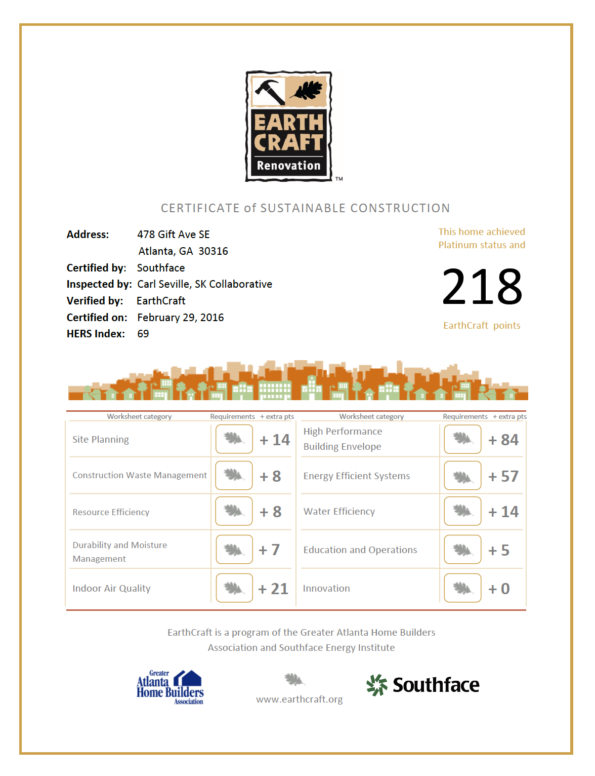 Certified earthcraft platinum green on gift earthcraft renovation certificate 478 gift ave xflitez Images